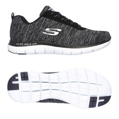 Skechers Sport Flex Appeal 2.0 Ladies Walking Shoes-Black-White