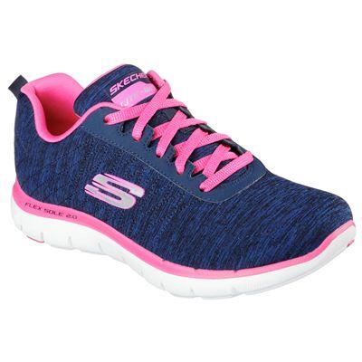 Skechers Sport Flex Appeal 2.0 Ladies Walking Shoes-Navy-Pink-Angled