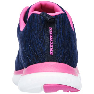 Skechers Sport Flex Appeal 2.0 Ladies Walking Shoes-Navy-Pink-Back