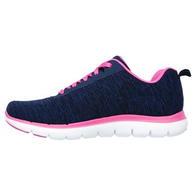 Skechers Sport Flex Appeal 2.0 Ladies Walking Shoes-Navy-Pink-Side