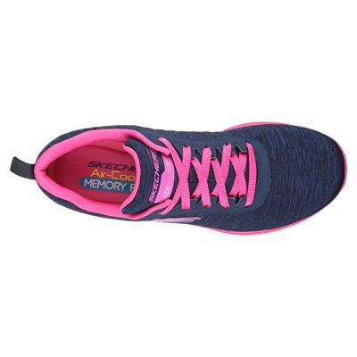 Skechers Sport Flex Appeal 2.0 Ladies Walking Shoes-Navy-Pink-Top