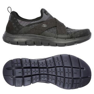 Skechers Sport Flex Appeal 2.0 Ladies Walking Shoes-Black-Main