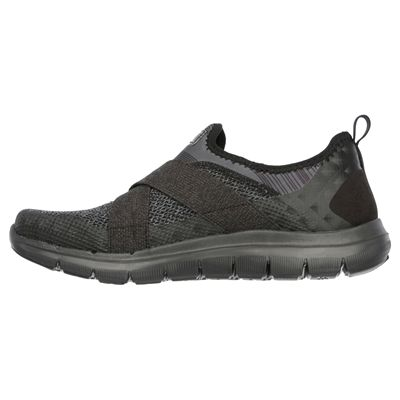 Skechers Sport Flex Appeal 2.0 Ladies Walking Shoes-Black-Side