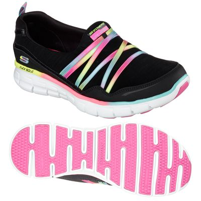 Skechers Sport Synergy Scene Stealer Ladies Walking Shoes-Black-Multicolour- Main Image