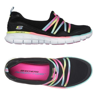 Skechers Sport Synergy Scene Stealer Ladies Walking Shoes-Black-Multicolour-Alternative View