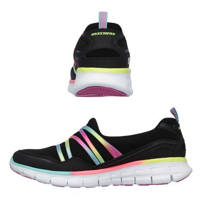 Skechers Sport Synergy Scene Stealer Ladies Walking Shoes-Black-Multicolour-Images