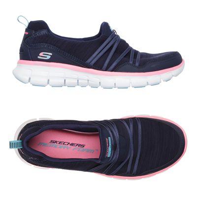Skechers Sport Synergy Scene Stealer Ladies Walking Shoes-Navy-Pink-Alternative View