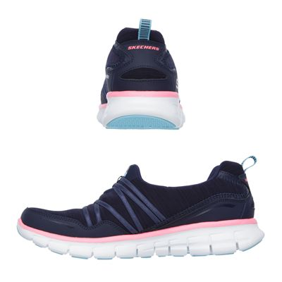 Skechers Sport Synergy Scene Stealer Ladies Walking Shoes-Navy-Pink-Images