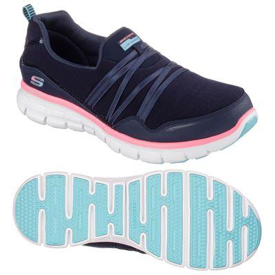 Skechers Sport Synergy Scene Stealer Ladies Walking Shoes-Navy-Pink-Main Image