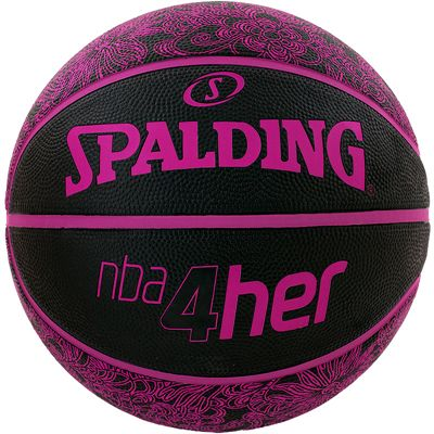 Spalding NBA 4 Her Basketball Black Pink Front View