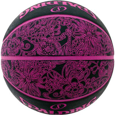 Spalding NBA 4 Her Basketball Black Pink Rear View