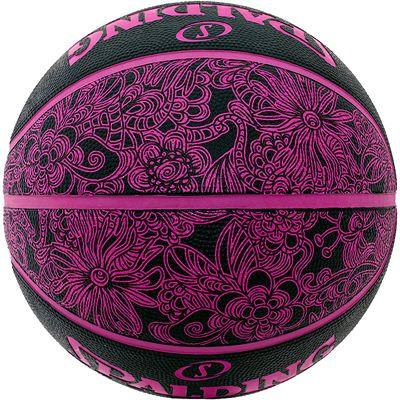 Spalding NBA 4 Her Basketball Black Pink Rear View