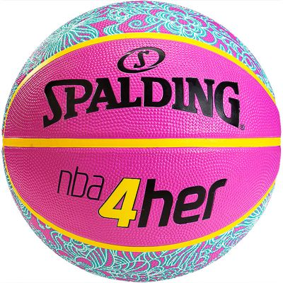 Spalding NBA 4 Her Basketball Pink Blue Front View