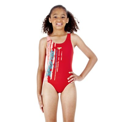 Speedo Aquadive Placement Splashback Girls Swimsuit Red