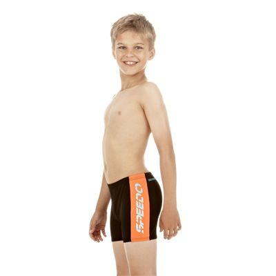 cdda3f3ca4 Speedo Logo Splice Boys Aquashort Black Tangerine Mystic Side
