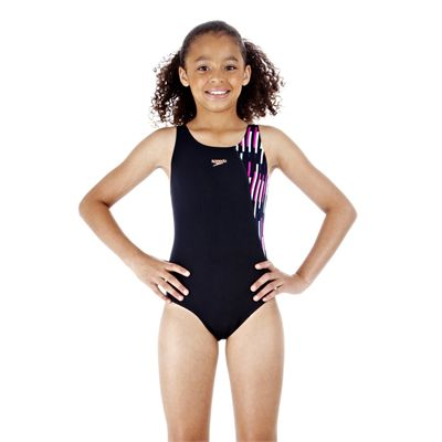 Speedo SplashJet Allover Panel Splashback Girls Swimsuit