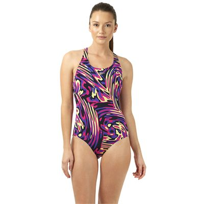 Speedo Allover Powerblack Ladies Swimsuit - Purple/Pink