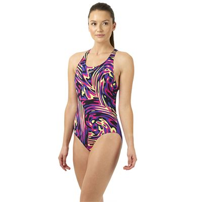 Speedo Allover Powerblack Ladies Swimsuit - Purple/Pink - Side