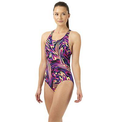Speedo Allover Powerblack Ladies Swimsuit - Purple/Pink - Side