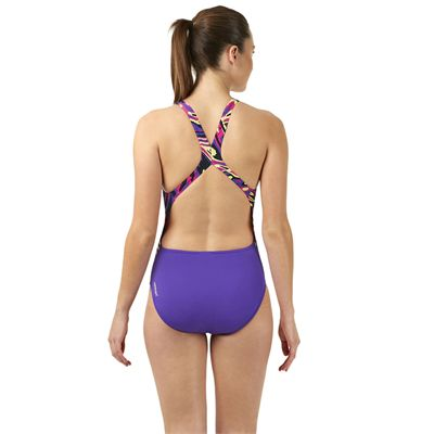 Speedo Allover Powerblack Ladies Swimsuit - Purple/Pink - Back