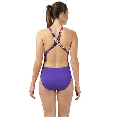 Speedo Allover Powerblack Ladies Swimsuit - Purple/Pink - Back
