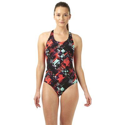 Speedo Allover Powerblack Ladies Swimsuit - Black/Green
