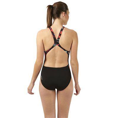Speedo Allover Powerblack Ladies Swimsuit - Black/Green - Back