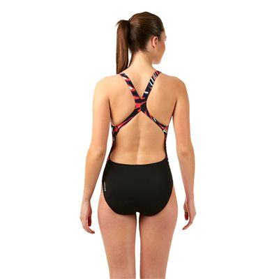 Speedo Allover Powerblack Ladies Swimsuit Back View