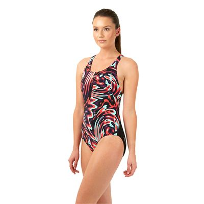 Speedo Allover Powerblack Ladies Swimsuit Left Side View