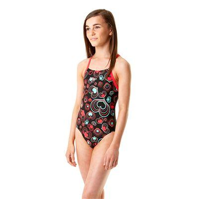 Speedo Allover Rippleback Girls Swimsuit-Black and Pink-Side View