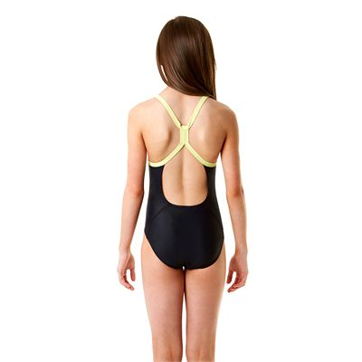 Speedo Allover Rippleback Girls Swimsuit-Navy and Green-Back View