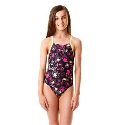 Speedo Allover Rippleback Girls Swimsuit-Navy and Green-Front View