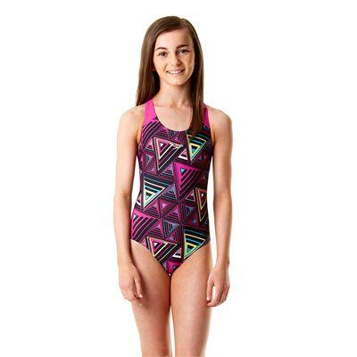 Speedo Allover Splashback Girls Swimsuit-Navy and Pink