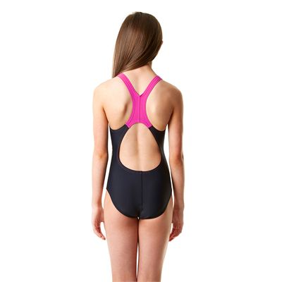 Speedo Allover Splashback Girls Swimsuit-Navy and Pink Back View