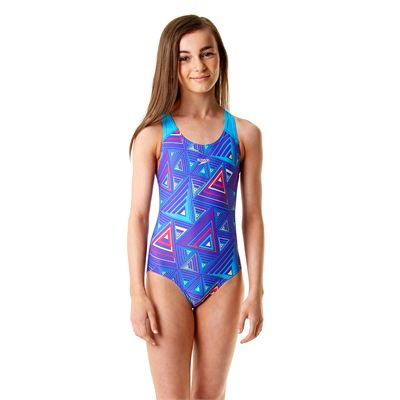Speedo Allover Splashback Girls Swimsuit-Purple and Blue