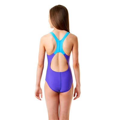 Speedo Allover Splashback Girls Swimsuit-Purple and Blue Back View