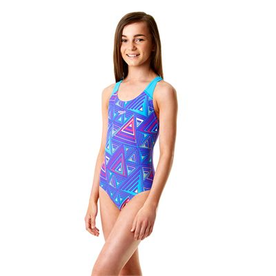 Speedo Allover Splashback Girls Swimsuit-Purple and Blue Left Side View