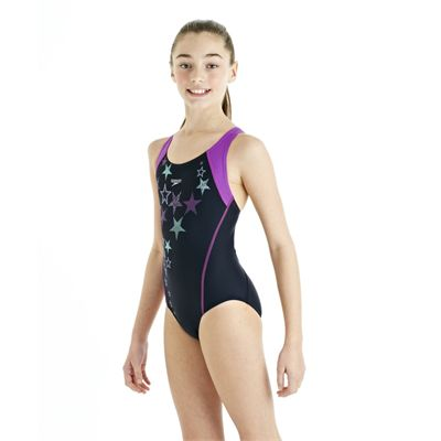 Speedo ArrowTurn Placement Splashback Girls Swimsuit - Navy/Purple