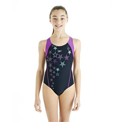Speedo ArrowTurn Placement Splashback Girls Swimsuit - Navy/Purple - Front View