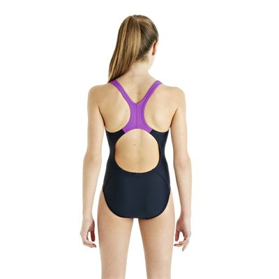 Speedo ArrowTurn Placement Splashback Girls Swimsuit - Navy/Purple - Back View