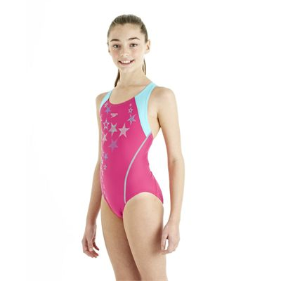 Speedo ArrowTurn Placement Splashback Girls Swimsuit - Pink/Blue
