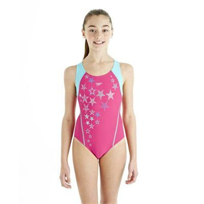 Speedo ArrowTurn Placement Splashback Girls Swimsuit - Pink/Blue - Front View