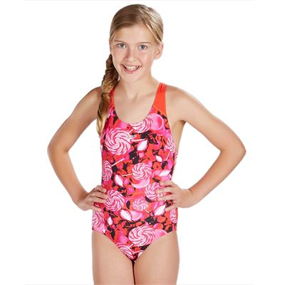 Speedo Astro Fizz Allover Splashback Girls Swimsuit