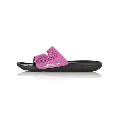 Speedo Atami Slide Ladies Swimming Sandals Black Pink Side Shot