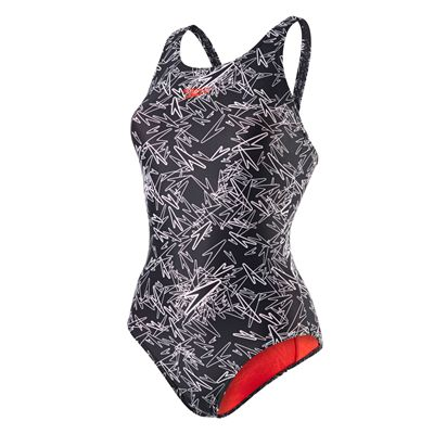 Speedo Boom Allover Muscleback Ladies Swimsuit-Black-White
