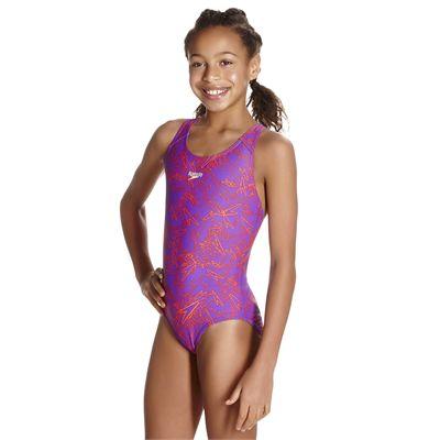 Speedo Boom Allover Splashback Girls Swimsuit AW17 - Angled