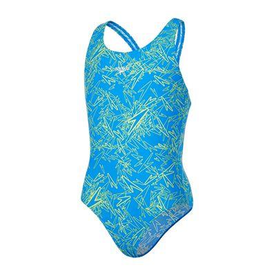 Speedo Boom Allover Splashback Girls Swimsuit AW17 - Blue