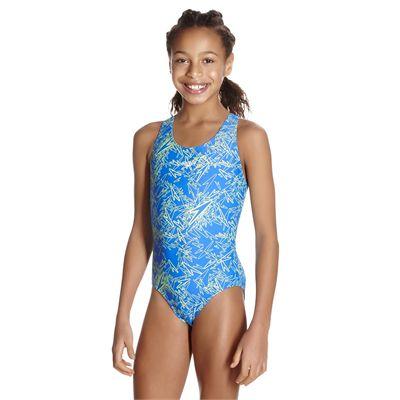 Speedo Boom Allover Splashback Girls Swimsuit AW17 - Blue/Angled