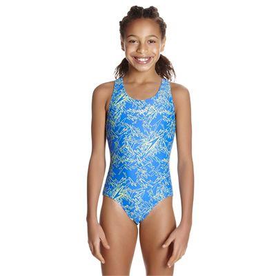 Speedo Boom Allover Splashback Girls Swimsuit AW17 - Blue/Front