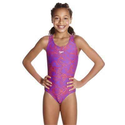 Speedo Boom Allover Splashback Girls Swimsuit AW17 - Pink